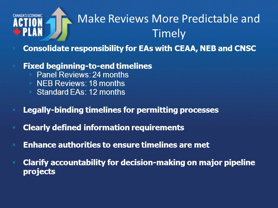 Make Reviews More Predictable and Timely  Consolidate responsibility for EAs with CEAA, NEB and CNSC  Fixed beginning-to-end timelines  Panel Reviews: 24 months  NEB Reviews: 18 months  Standard EAs: 12 months  Legally-binding timelines for permitting processes  Clearly defined information requirements  Enhance authorities to ensure timelines are met  Clarify accountability for decision-making on major pipeline projects