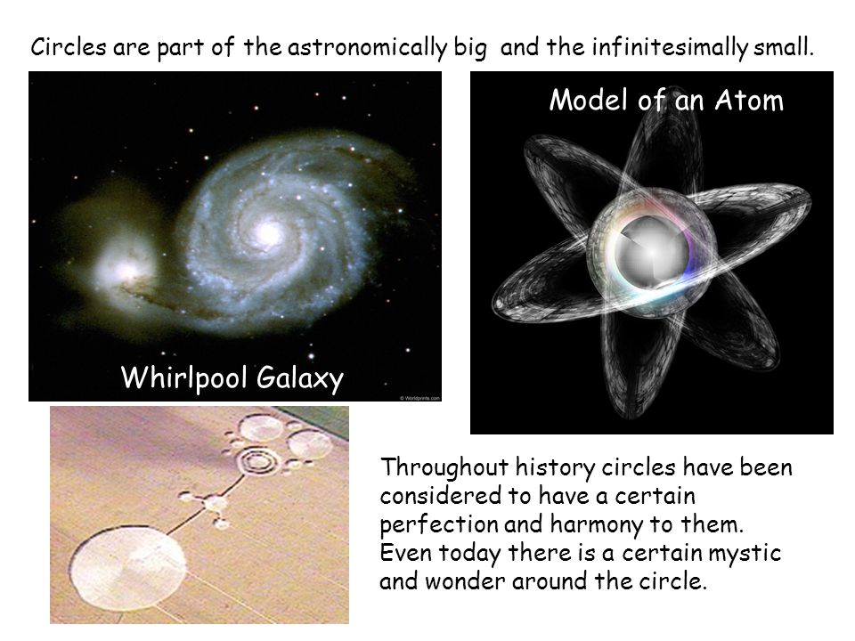 Circles are part of the astronomically big Whirlpool Galaxy Model of an Atom Throughout history circles have been considered to have a certain perfection and harmony to them.