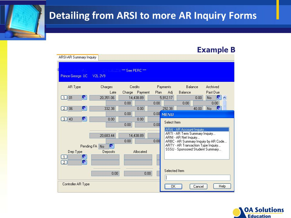 Detailing from ARSI to more AR Inquiry Forms Example B
