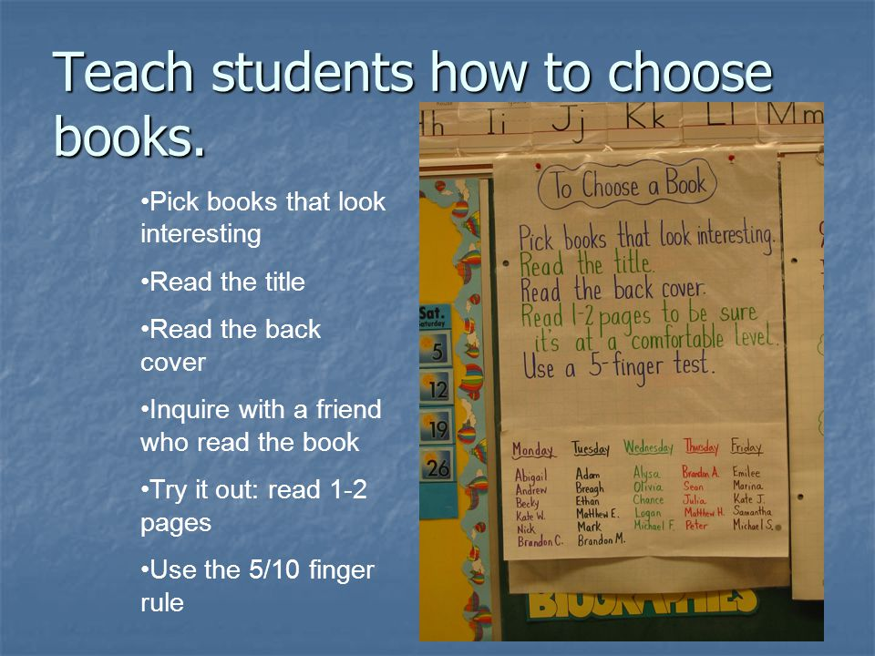 Teach students how to choose books.
