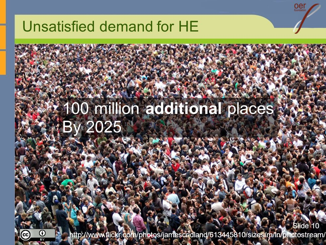 Unsatisfied demand for HE http://www.flickr.com/photos/jamescridland/613445810/sizes/m/in/photostream/ 100 million additional places By 2025 Slide 10