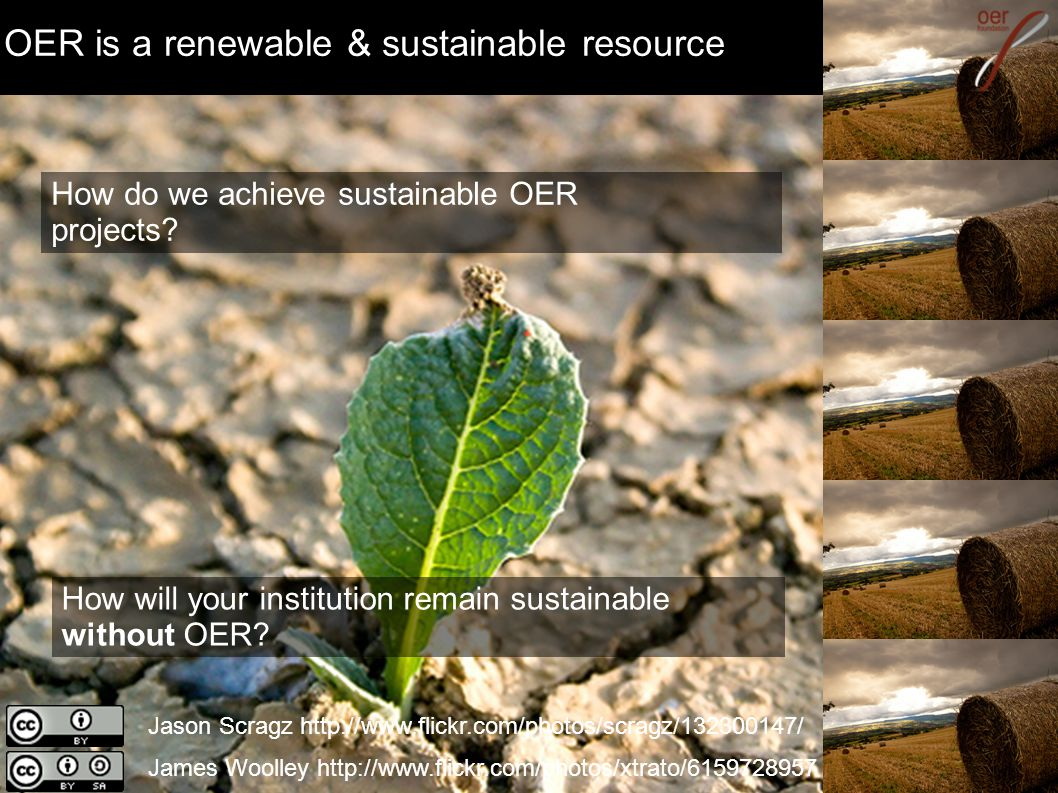 OER is a renewable & sustainable resource Jason Scragz http://www.flickr.com/photos/scragz/132300147/ James Woolley http://www.flickr.com/photos/xtrato/6159728957 How do we achieve sustainable OER projects.
