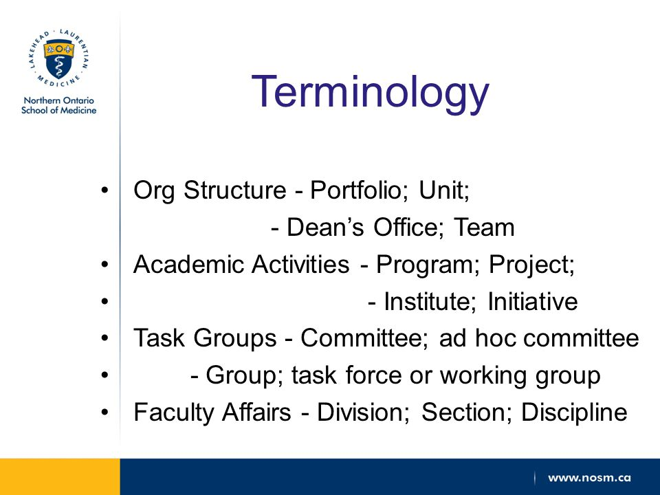 Terminology Org Structure - Portfolio; Unit; - Dean's Office; Team Academic Activities - Program; Project; - Institute; Initiative Task Groups - Committee; ad hoc committee - Group; task force or working group Faculty Affairs - Division; Section; Discipline