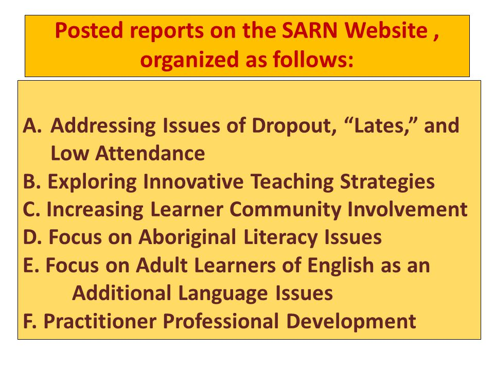 Posted reports on the SARN Website, organized as follows: A.Addressing Issues of Dropout, Lates, and Low Attendance B.