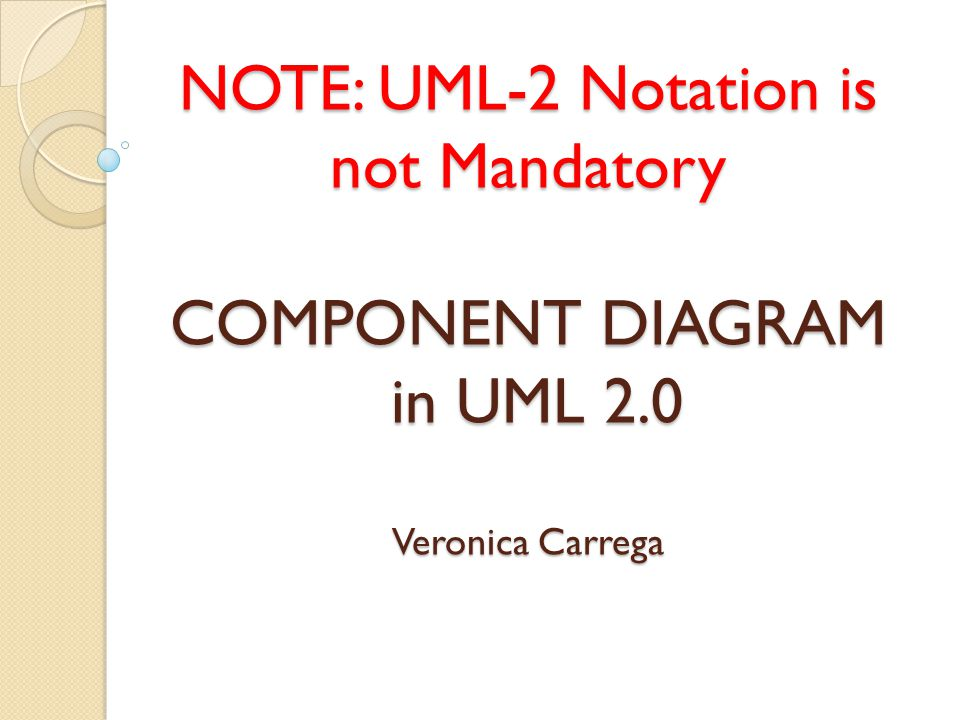 NOTE: UML-2 Notation is not Mandatory COMPONENT DIAGRAM in UML 2.0 Veronica Carrega