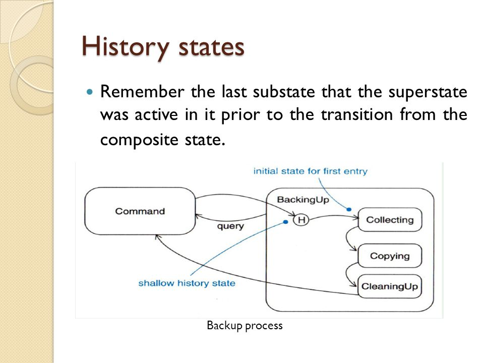 History states Remember the last substate that the superstate was active in it prior to the transition from the composite state.