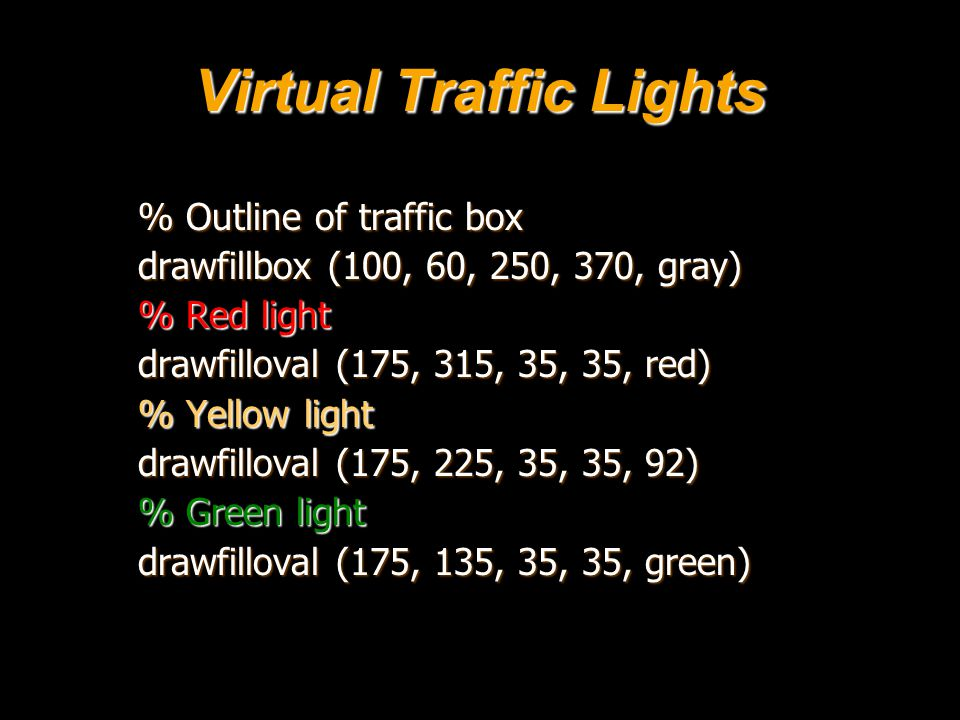 Virtual Traffic Lights % Outline of traffic box drawfillbox (100, 60, 250, 370, gray) % Red light drawfilloval (175, 315, 35, 35, red) % Yellow light drawfilloval (175, 225, 35, 35, 92) % Green light drawfilloval (175, 135, 35, 35, green)