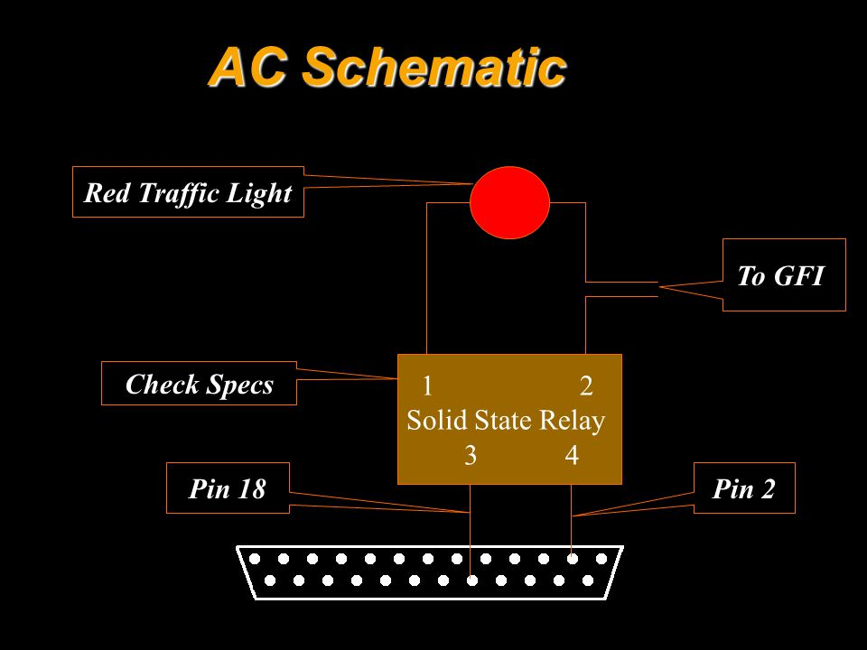 AC Schematic 1 2 Solid State Relay 3 4 Pin 18Pin 2 Check Specs To GFI Red Traffic Light
