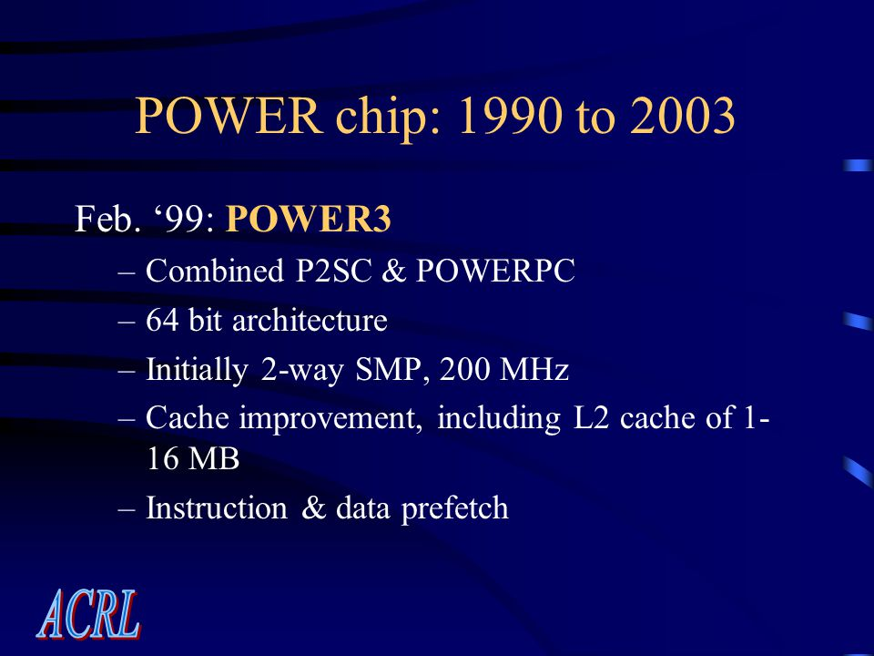 POWER chip: 1990 to 2003 Feb.