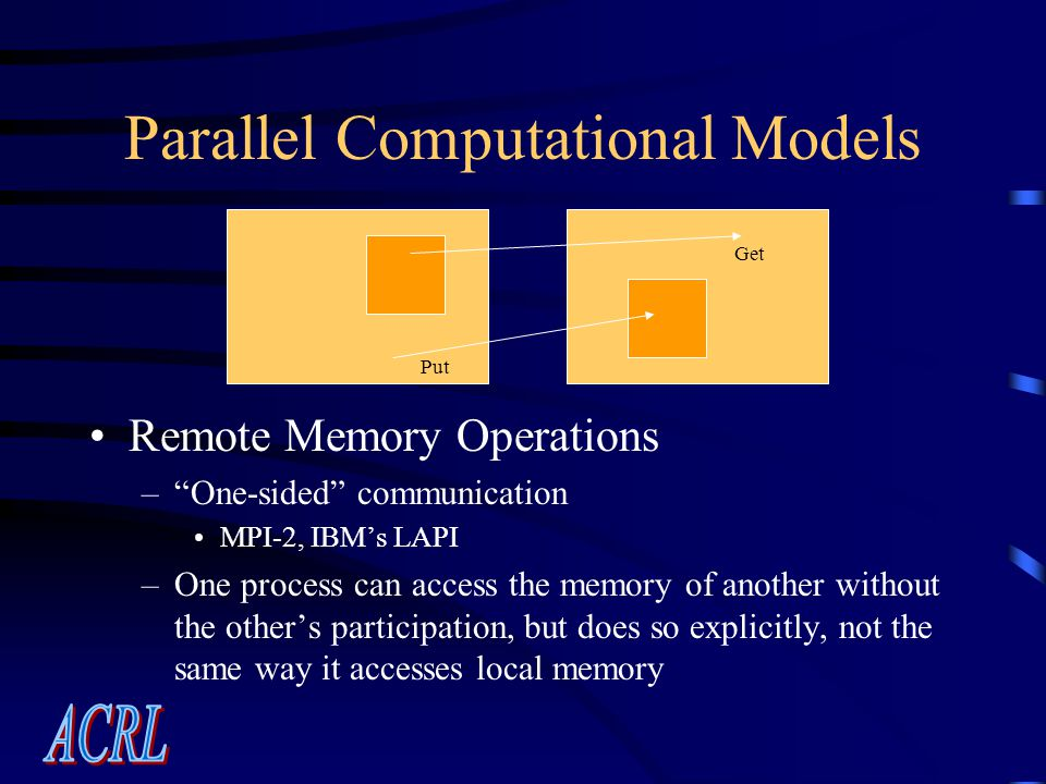 Parallel Computational Models Remote Memory Operations – One-sided communication MPI-2, IBM's LAPI –One process can access the memory of another without the other's participation, but does so explicitly, not the same way it accesses local memory Put Get