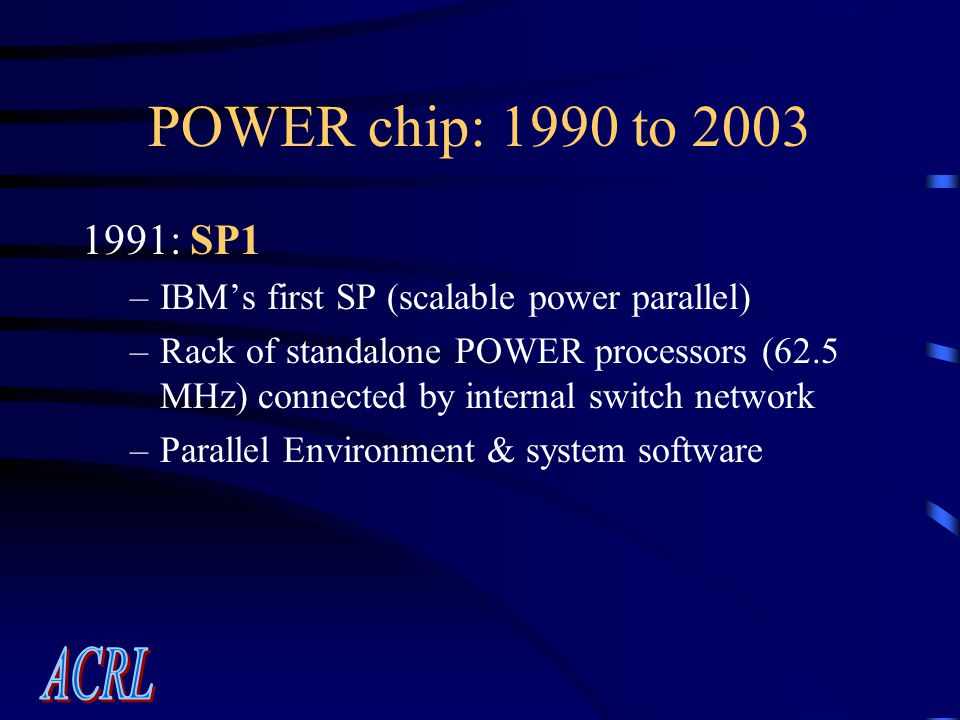 POWER chip: 1990 to 2003 1991: SP1 –IBM's first SP (scalable power parallel) –Rack of standalone POWER processors (62.5 MHz) connected by internal switch network –Parallel Environment & system software