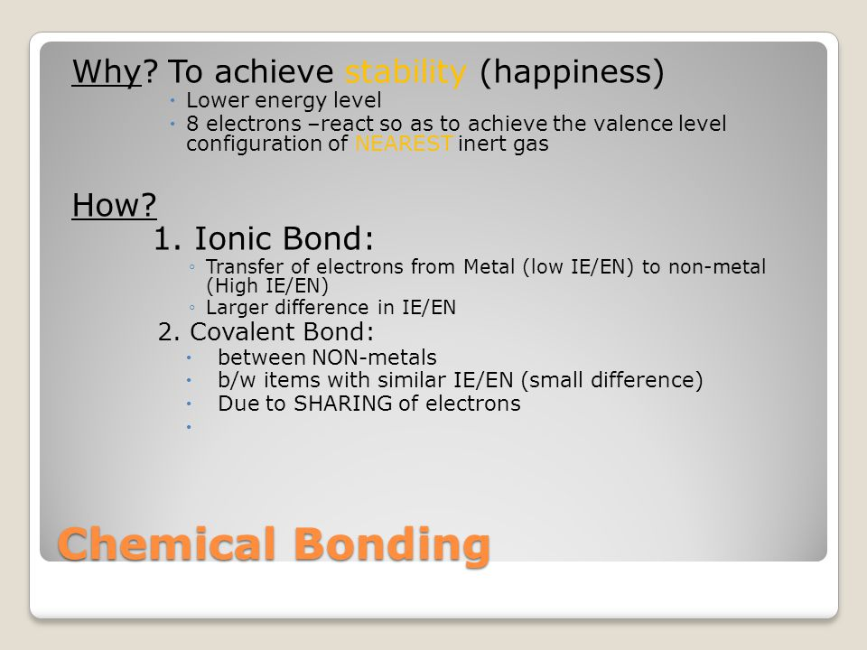 Chemical Bonding Why.