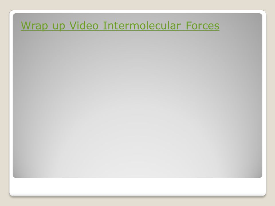 Wrap up Video Intermolecular Forces