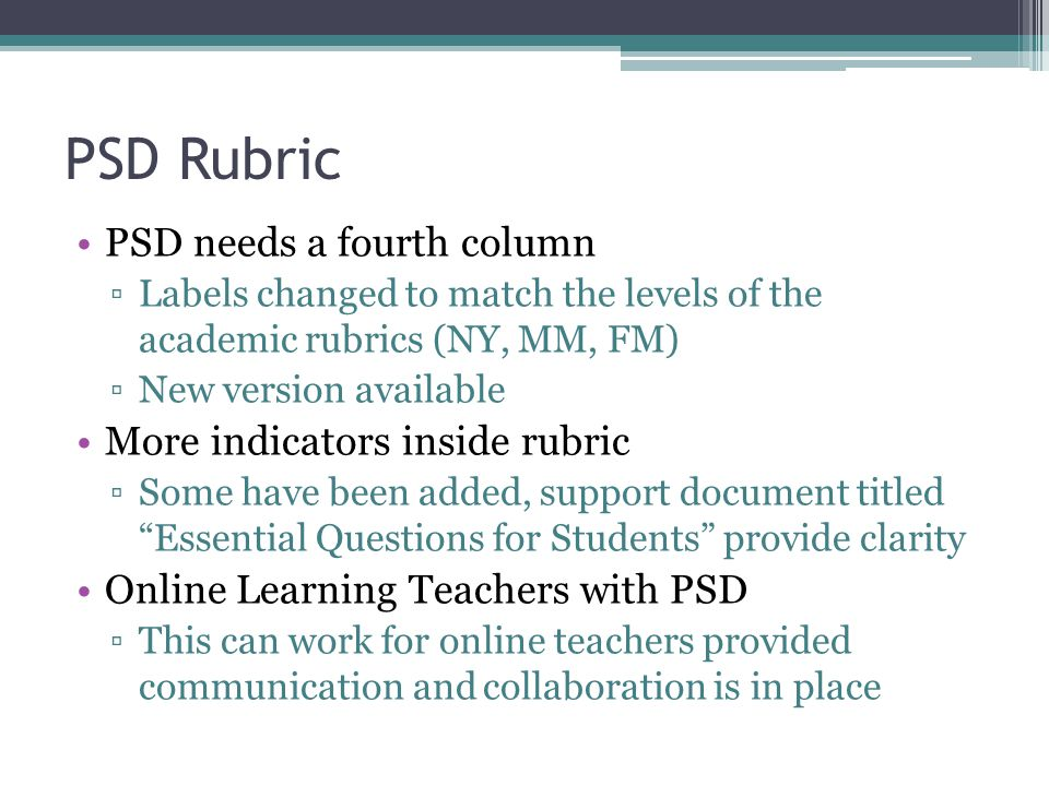 PSD Rubric PSD needs a fourth column ▫Labels changed to match the levels of the academic rubrics (NY, MM, FM) ▫New version available More indicators inside rubric ▫Some have been added, support document titled Essential Questions for Students provide clarity Online Learning Teachers with PSD ▫This can work for online teachers provided communication and collaboration is in place
