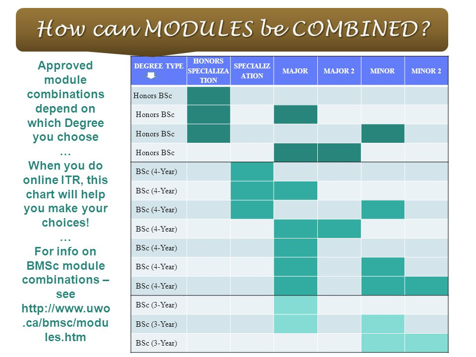 DEGREE TYPE HONORS SPECIALIZA TION SPECIALIZ ATION MAJORMAJOR 2MINORMINOR 2 Honors BSc BSc (4-Year) BSc (3-Year) Approved module combinations depend on which Degree you choose … When you do online ITR, this chart will help you make your choices.