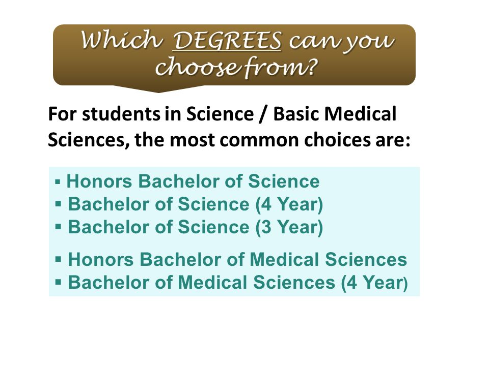 For students in Science / Basic Medical Sciences, the most common choices are:  Honors Bachelor of Science  Bachelor of Science (4 Year)  Bachelor of Science (3 Year)  Honors Bachelor of Medical Sciences  Bachelor of Medical Sciences (4 Year )