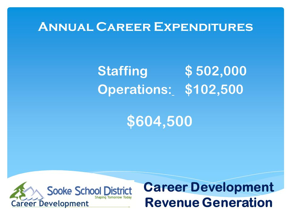Annual Career Expenditures Staffing $ 502,000 Operations: $102,500 $604,500 Career Development Revenue Generation