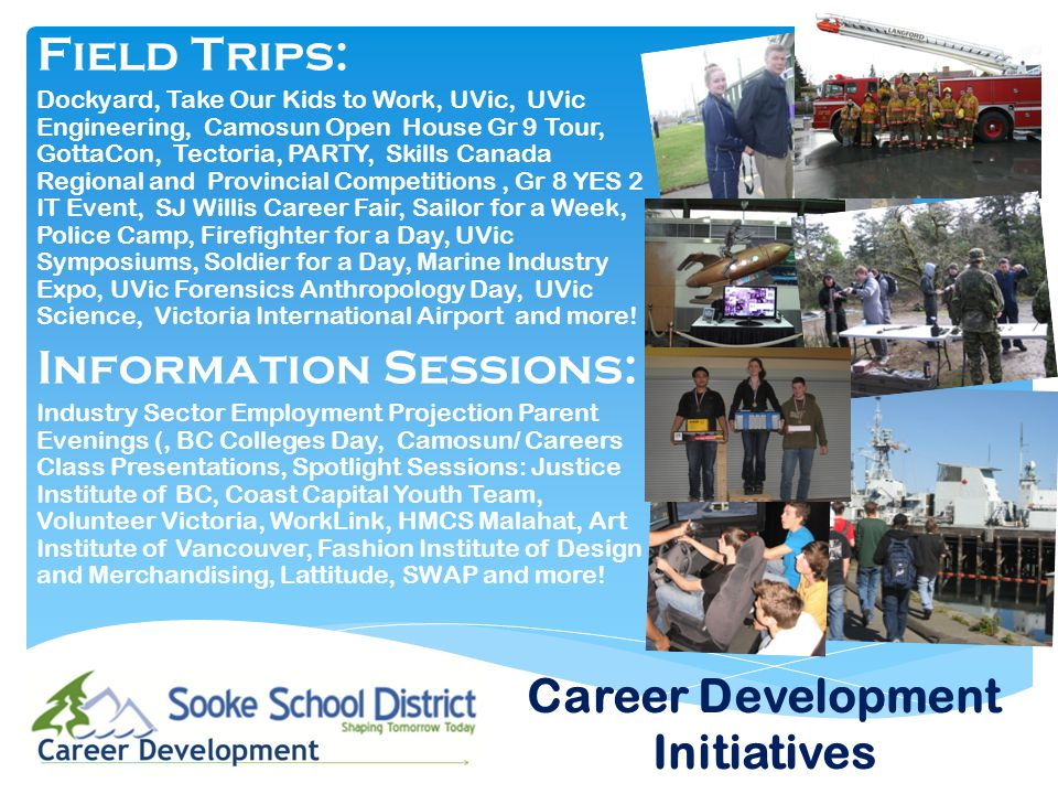 Field Trips: Dockyard, Take Our Kids to Work, UVic, UVic Engineering, Camosun Open House Gr 9 Tour, GottaCon, Tectoria, PARTY, Skills Canada Regional and Provincial Competitions, Gr 8 YES 2 IT Event, SJ Willis Career Fair, Sailor for a Week, Police Camp, Firefighter for a Day, UVic Symposiums, Soldier for a Day, Marine Industry Expo, UVic Forensics Anthropology Day, UVic Science, Victoria International Airport and more.