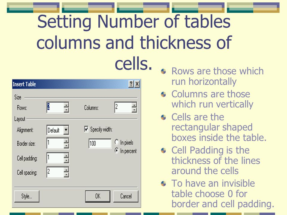 Setting Number of tables columns and thickness of cells.