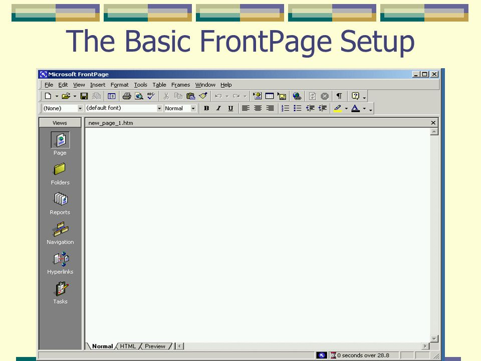 The Basic FrontPage Setup