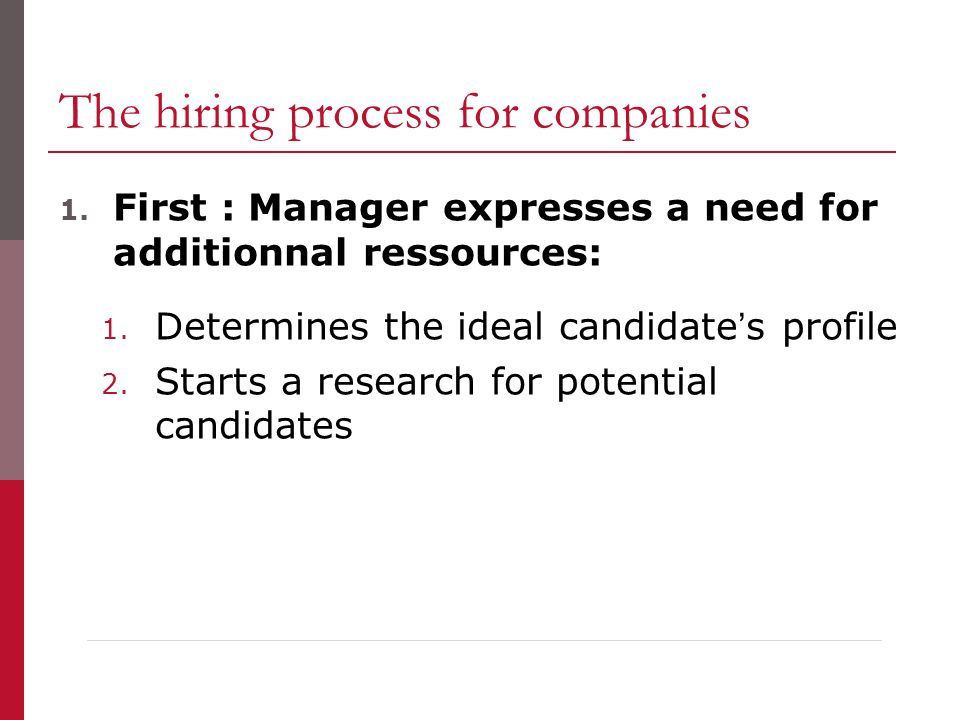 The hiring process for companies 1. First : Manager expresses a need for additionnal ressources: 1.