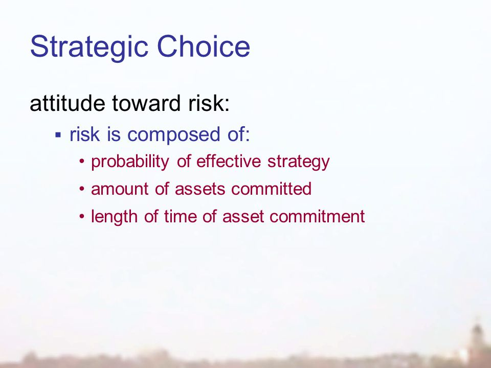 Strategic Choice attitude toward risk:  risk is composed of: probability of effective strategy amount of assets committed length of time of asset commitment