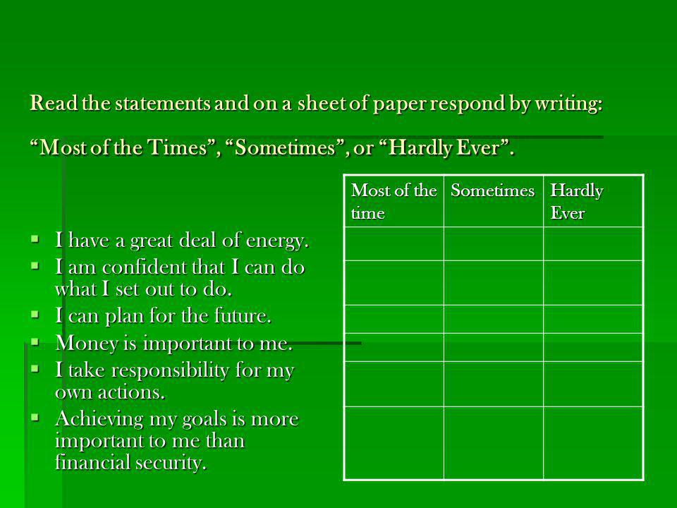 Read the statements and on a sheet of paper respond by writing: Most of the Times , Sometimes , or Hardly Ever .