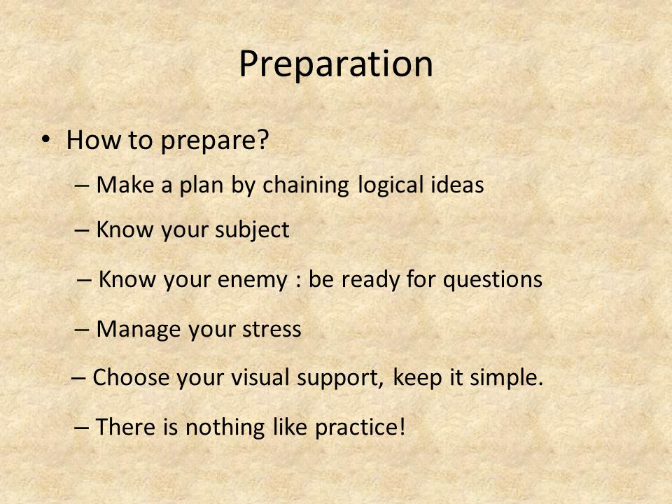Preparation How to prepare.