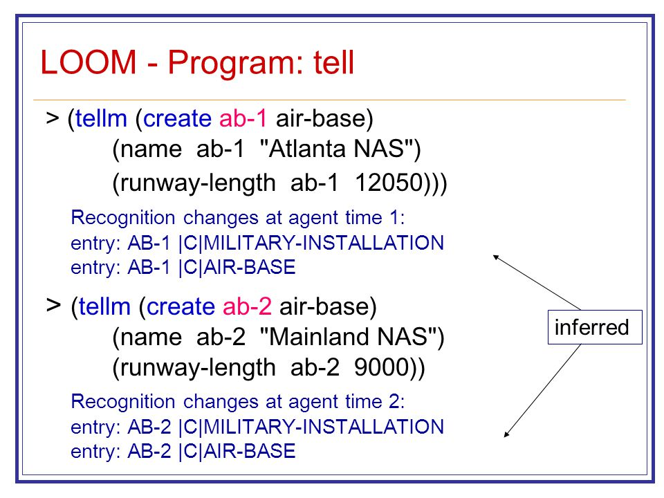 LOOM - Program: tell > (tellm (create ab-1 air-base) (name ab-1 Atlanta NAS ) (runway-length ab-1 12050))) Recognition changes at agent time 1: entry: AB-1 |C|MILITARY-INSTALLATION entry: AB-1 |C|AIR-BASE > (tellm (create ab-2 air-base) (name ab-2 Mainland NAS ) (runway-length ab-2 9000)) Recognition changes at agent time 2: entry: AB-2 |C|MILITARY-INSTALLATION entry: AB-2 |C|AIR-BASE inferred