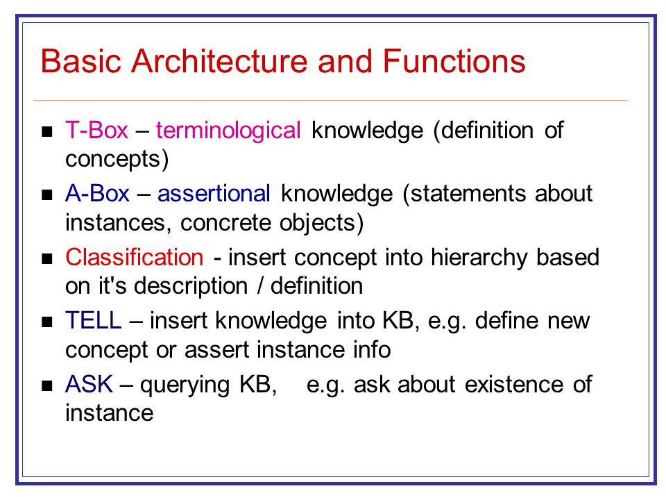 Basic Architecture and Functions T-Box – terminological knowledge (definition of concepts) A-Box – assertional knowledge (statements about instances, concrete objects) Classification - insert concept into hierarchy based on it s description / definition TELL – insert knowledge into KB, e.g.