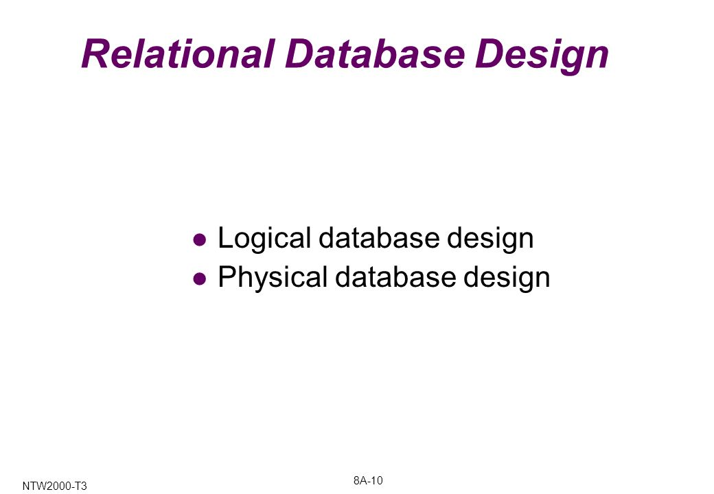 8A-10 NTW2000-T3 Relational Database Design Logical database design Physical database design