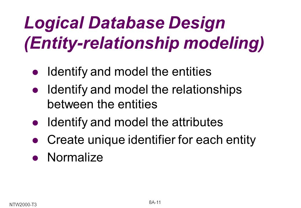 8A-11 NTW2000-T3 Logical Database Design (Entity-relationship modeling) Identify and model the entities Identify and model the relationships between the entities Identify and model the attributes Create unique identifier for each entity Normalize