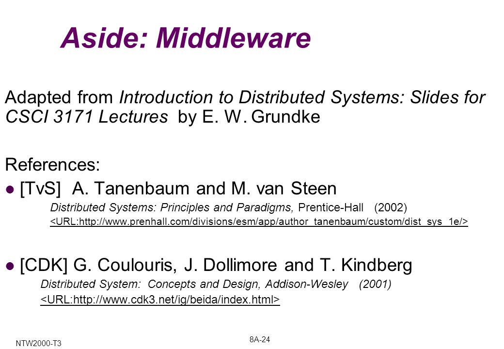 8A-24 NTW2000-T3 Aside: Middleware Adapted from Introduction to Distributed Systems: Slides for CSCI 3171 Lectures by E.