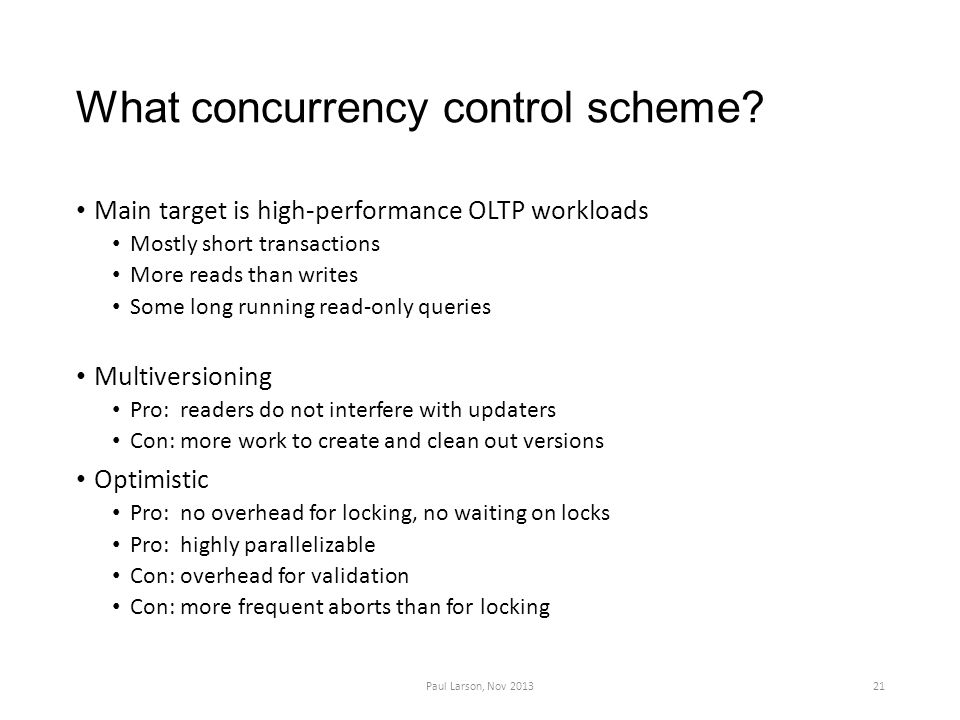 What concurrency control scheme.