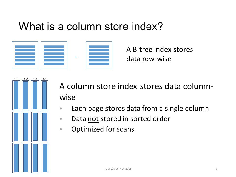 What is a column store index.