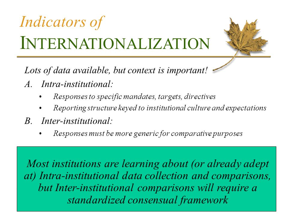 Indicators of I NTERNATIONALIZATION Lots of data available, but context is important.