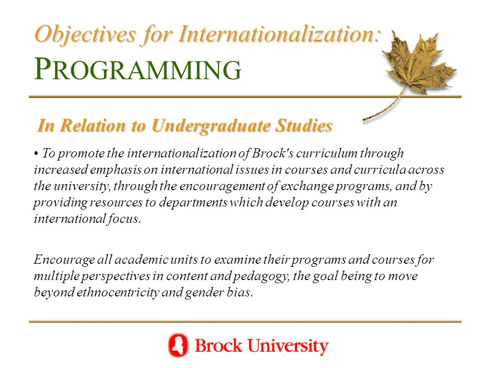 Objectives for Internationalization: Objectives for Internationalization: P ROGRAMMING In Relation to Undergraduate Studies To promote the internationalization of Brock s curriculum through increased emphasis on international issues in courses and curricula across the university, through the encouragement of exchange programs, and by providing resources to departments which develop courses with an international focus.