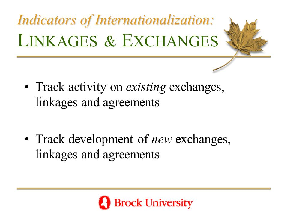Indicators of Internationalization: Indicators of Internationalization: L INKAGES & E XCHANGES Track activity on existing exchanges, linkages and agreements Track development of new exchanges, linkages and agreements