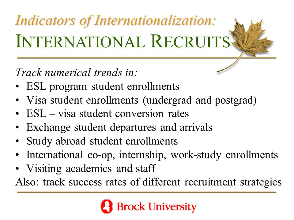 Indicators of Internationalization: Indicators of Internationalization: I NTERNATIONAL R ECRUITS Track numerical trends in: ESL program student enrollments Visa student enrollments (undergrad and postgrad) ESL – visa student conversion rates Exchange student departures and arrivals Study abroad student enrollments International co-op, internship, work-study enrollments Visiting academics and staff Also: track success rates of different recruitment strategies