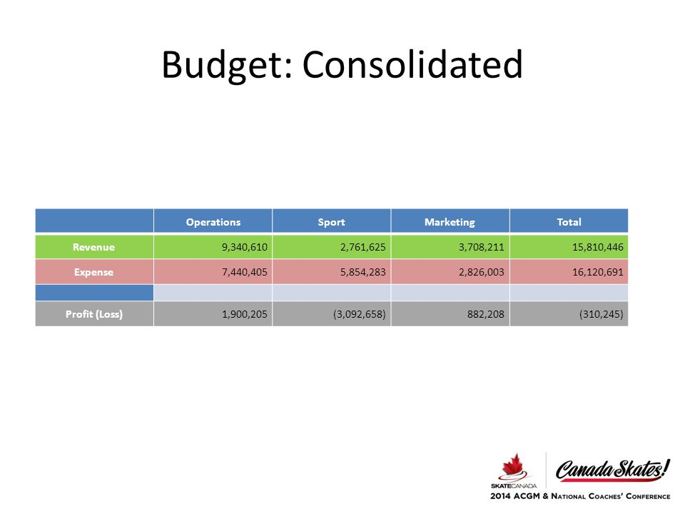 Budget: Consolidated OperationsSportMarketingTotal Revenue9,340,6102,761,6253,708,21115,810,446 Expense7,440,4055,854,2832,826,00316,120,691 Profit (Loss)1,900,205(3,092,658)882,208(310,245)