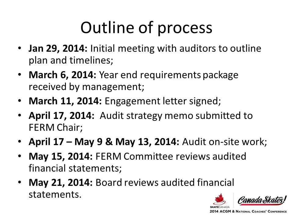 Outline of process Jan 29, 2014: Initial meeting with auditors to outline plan and timelines; March 6, 2014: Year end requirements package received by management; March 11, 2014: Engagement letter signed; April 17, 2014: Audit strategy memo submitted to FERM Chair; April 17 – May 9 & May 13, 2014: Audit on-site work; May 15, 2014: FERM Committee reviews audited financial statements; May 21, 2014: Board reviews audited financial statements.