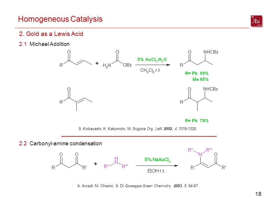18 Homogeneous Catalysis 2. Gold as a Lewis Acid S.