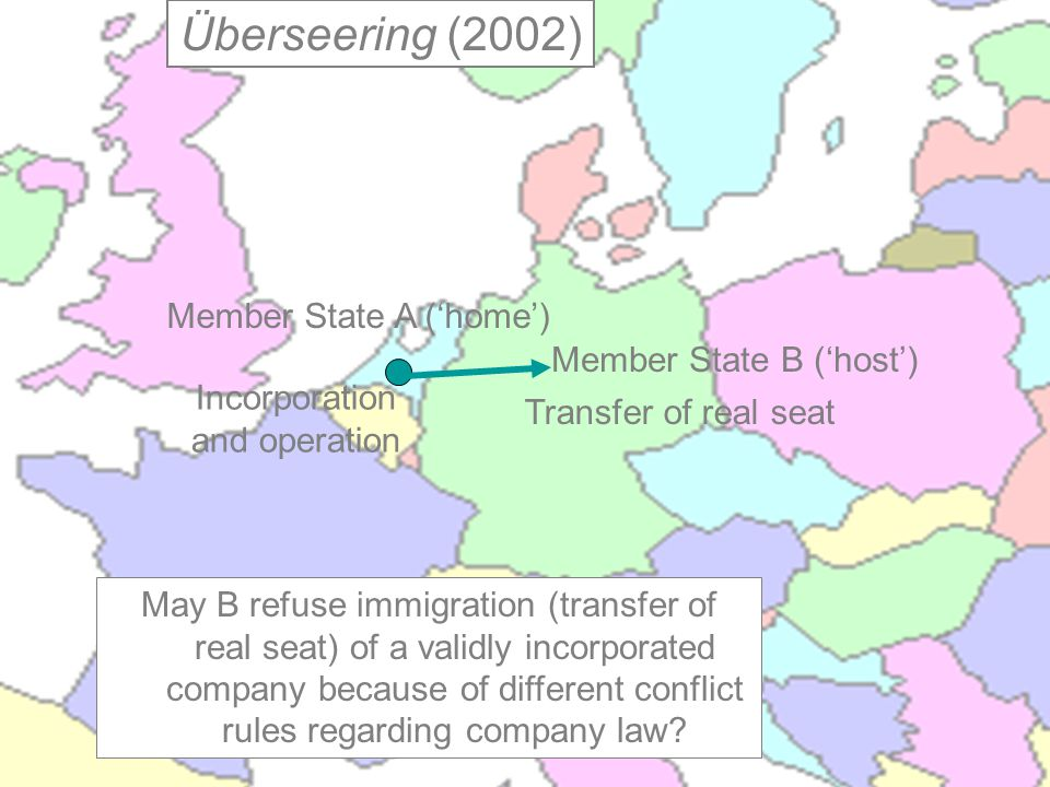Incorporation and operation Transfer of real seat Member State A ('home') Member State B ('host') May B refuse immigration (transfer of real seat) of a validly incorporated company because of different conflict rules regarding company law.