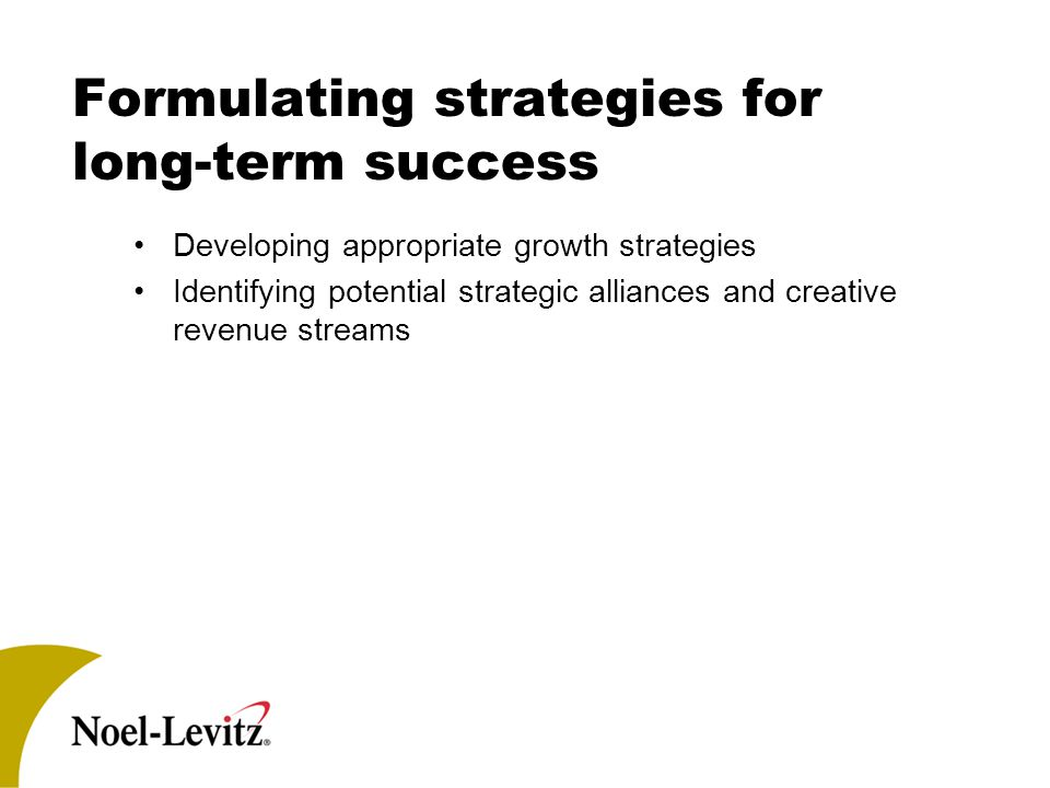 Formulating strategies for long-term success Developing appropriate growth strategies Identifying potential strategic alliances and creative revenue streams