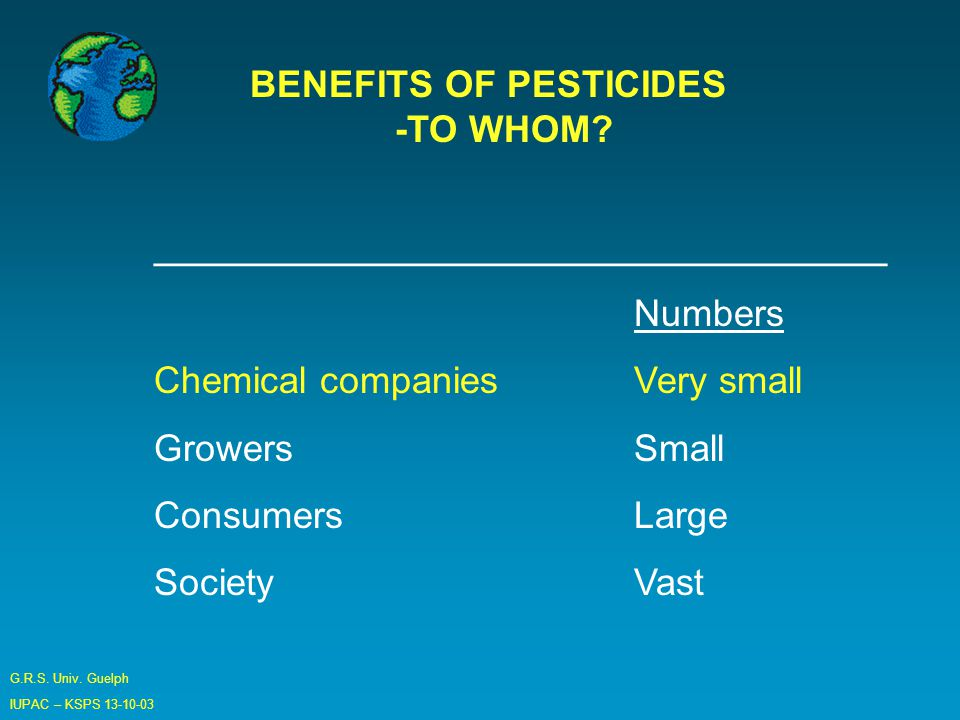 G.R.S. Univ. Guelph IUPAC – KSPS 13-10-03 BENEFITS OF PESTICIDES -TO WHOM.