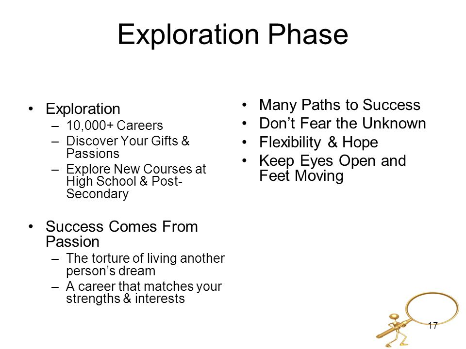 Exploration Phase Exploration –10,000+ Careers –Discover Your Gifts & Passions –Explore New Courses at High School & Post- Secondary Success Comes From Passion –The torture of living another person's dream –A career that matches your strengths & interests Many Paths to Success Don't Fear the Unknown Flexibility & Hope Keep Eyes Open and Feet Moving 17
