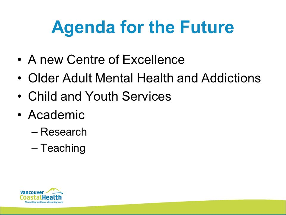 Agenda for the Future A new Centre of Excellence Older Adult Mental Health and Addictions Child and Youth Services Academic –Research –Teaching