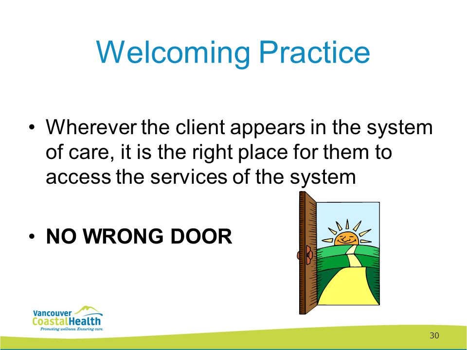 30 Welcoming Practice Wherever the client appears in the system of care, it is the right place for them to access the services of the system NO WRONG DOOR