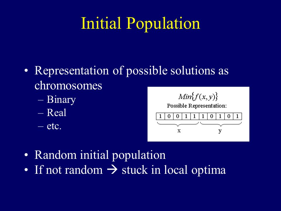 Initial Population Representation of possible solutions as chromosomes –Binary –Real –etc.