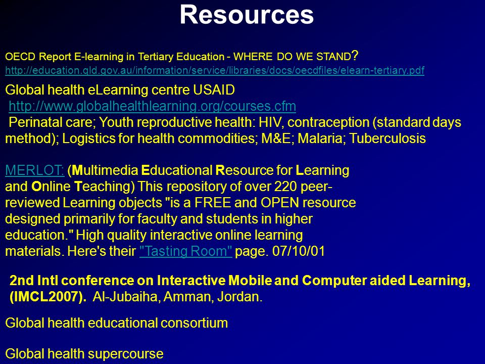 Resources OECD Report E-learning in Tertiary Education - WHERE DO WE STAND .